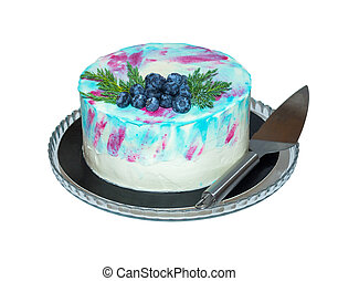 Blue mirror glaze fruit cake. Isolated on white.