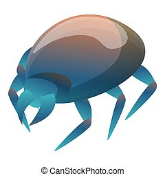 Blue mite icon, cartoon style