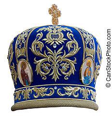 Blue mitre - solemn headgear of the orthodox bishop
