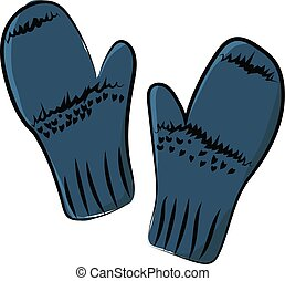 Blue mittens, illustration, vector on white background.