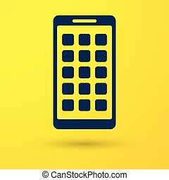Blue Mobile Apps icon isolated on yellow background. Smartphone with screen icons, applications. mobile phone showing screen. Vector Illustration