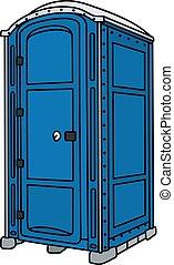 Blue mobile toilet