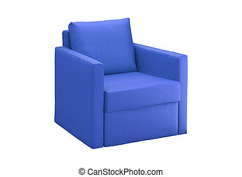 blue modern armchair isolated