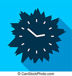 Blue modern clock without numbers icon, flat style