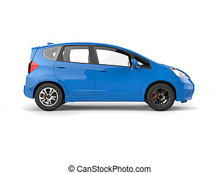 Blue modern compact electric car - side view