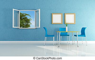 blue  modern dining room with open windows- rendering
