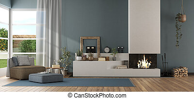 Blue modern living room with fireplace