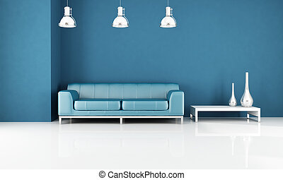 blue modern leather couch in a minimal living-room -rendering