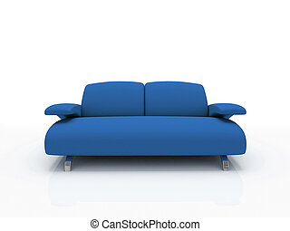 blue modern sofa on white background  insulated 3d