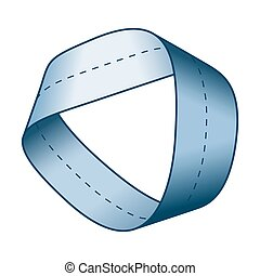 Blue Moebius strip or Mobius band. Surface with only one...
