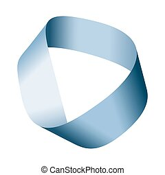 Blue Moebius strip with centerline - Blue Moebius strip or...