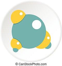 Blue molecule icon circle