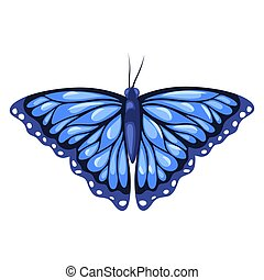 Blue monarch butterfly isolated on white background