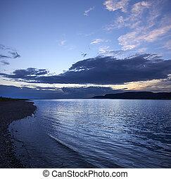 Blue Monochrome Sunset Over the wavy lake