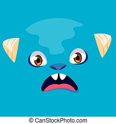 Blue monster cartoon design icon vector ilustration