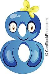 Blue monster in number eight shape illustration vector on white background