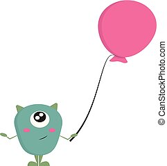 blue monster with balloon