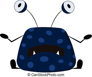 Blue monster with big eyes, vector color illustration.