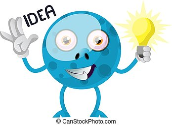 Blue monster with idea, illustration, vector on white background.