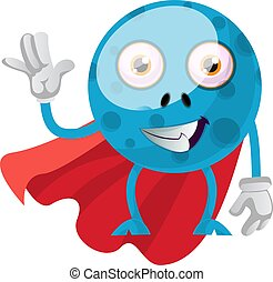Blue monster with red cape, illustration, vector on white background.