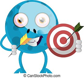 Blue monster with target, illustration, vector on white background.