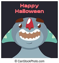 Blue monster with tentacles Halloween greeting