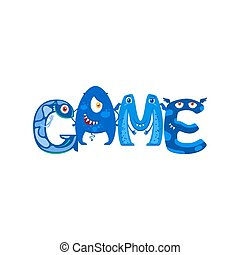 Blue Monsters letters in word Game