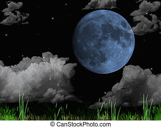 A full, blue moon surrounded by ominous clouds.