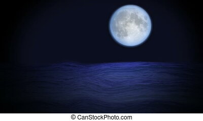 Mystic blue full moon and ocean waves