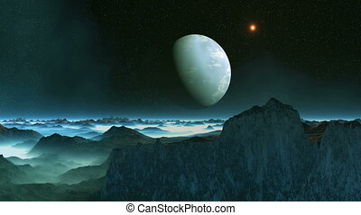 Blue Moon and UFO - The big blue planet slowly rotates in...