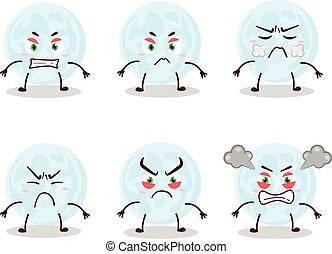 Blue moon cartoon character with various angry expressions