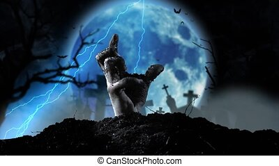 Blue moon flickers with lightning and slowly a human hand...