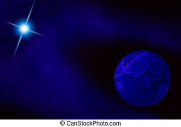 Blue Moon - Galactic view of deep blue moon and star.