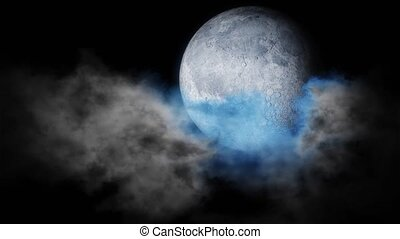 Blue moon on the night sky background. - Halloween animated...