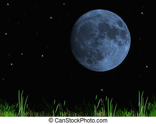 Once in a blue moon, the fullness during a starry clear evening.