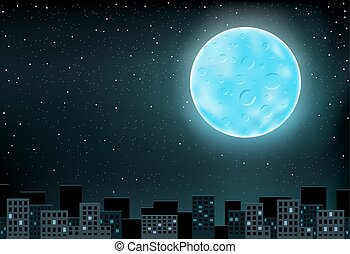 blue moon over city