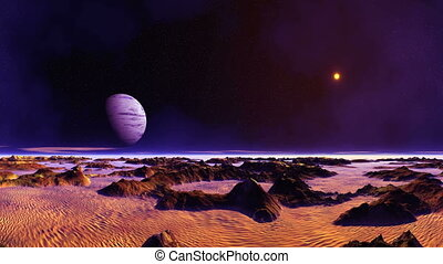 Blue Moon Over Desert Planet - In the dark starry sky big...