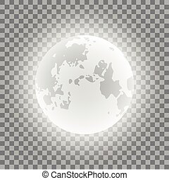 Blue moon phases on a transparent background. Vector Illustration,