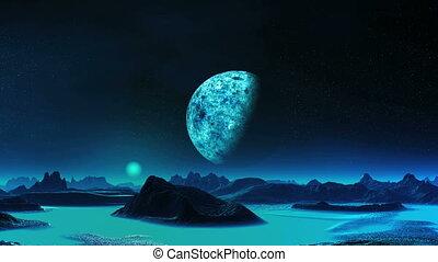 Blue Moon Rise On An Alien Planet