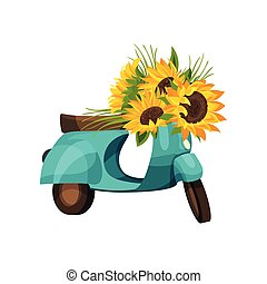 Blue moped with sunflower flowers. Vector illustration on white background.