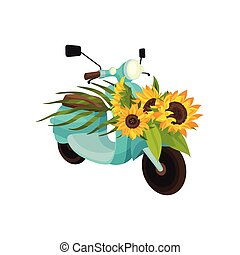 Blue moped with sunflowers. Vector illustration on white background.