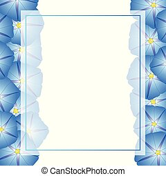 Blue Morning Glory Flower Banner Card Border. Vector...