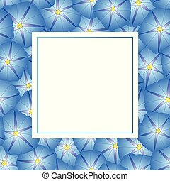 Blue Morning Glory Flower Banner Card. Vector Illustration.
