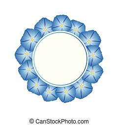 Blue Morning Glory Flower Banner Wreath. Vector...