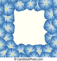 Blue Morning Glory Flower Border. Vector Illustration.
