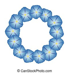 Blue Morning Glory Flower Wreath. Vector Illustration.