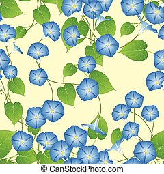 Blue Morning Glory on Ivory Beige Background. Vector...