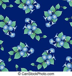 Blue Morning Glory on Navy Blue Background. Vector...