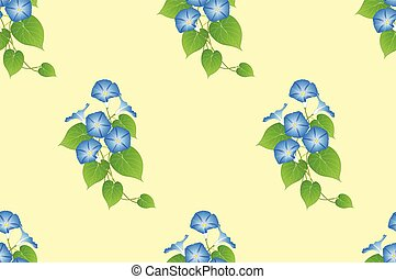 Blue Morning Glory Seamless on Yellow Background. Vector...