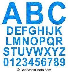 Blue mosaic font set